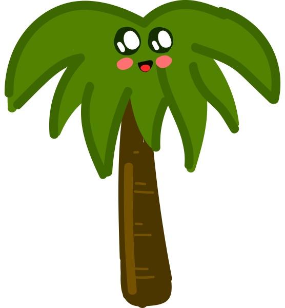 cute palm tree illustration vector on