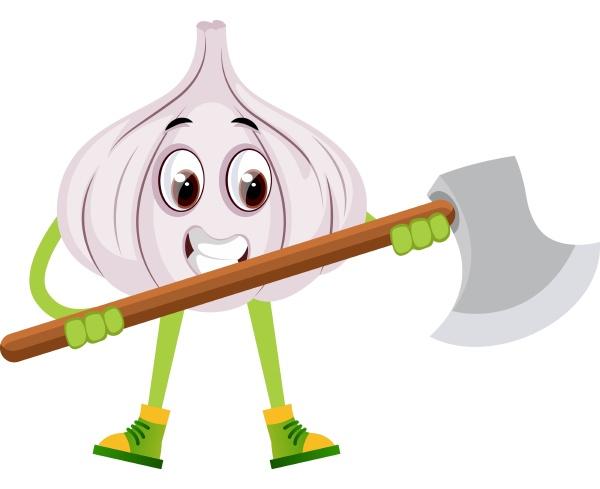 garlic with big axe illustration