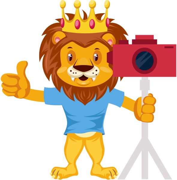 lion with camera illustration vector on