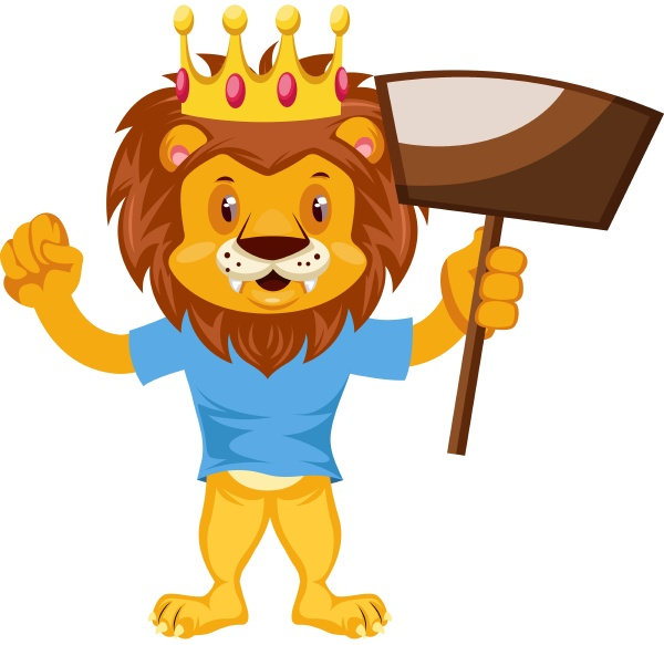 lion with dust pan illustration vector