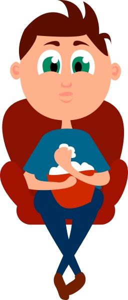 boy with popcorn illustration vector on