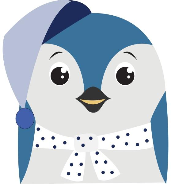 blue penguin illustration vector on white