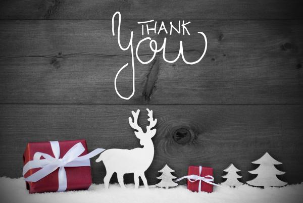 reindeer gift tree snow calligraphy thank