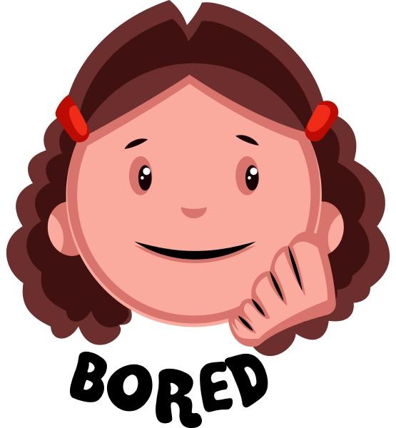 bored girl illustration vector on white