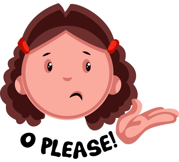 o please girl emoji illustration vector