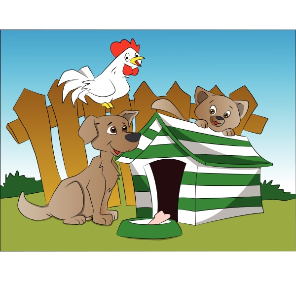 vector of dog squirrel and hen