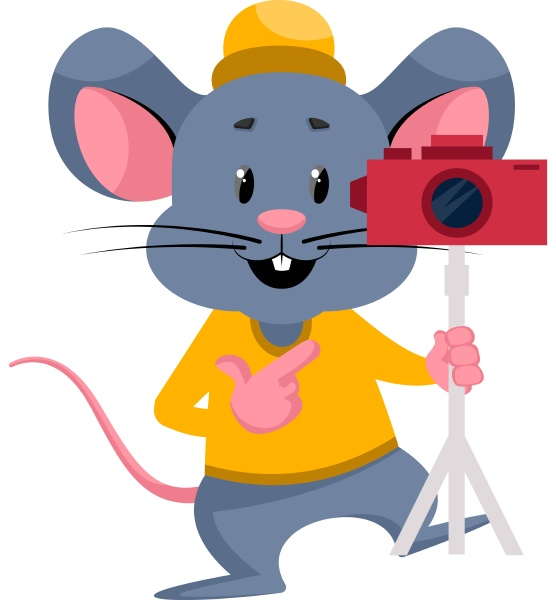 mouse with camera illustration vector on