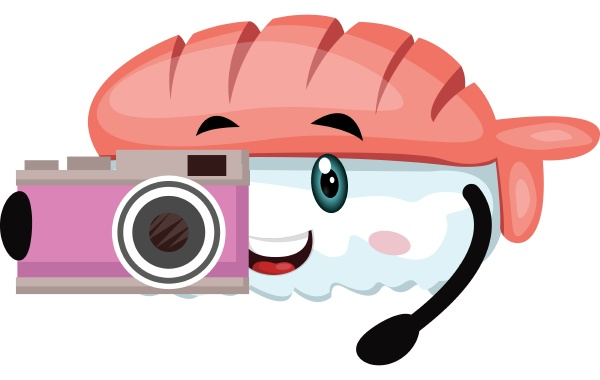 sushi with camera illustration vector on
