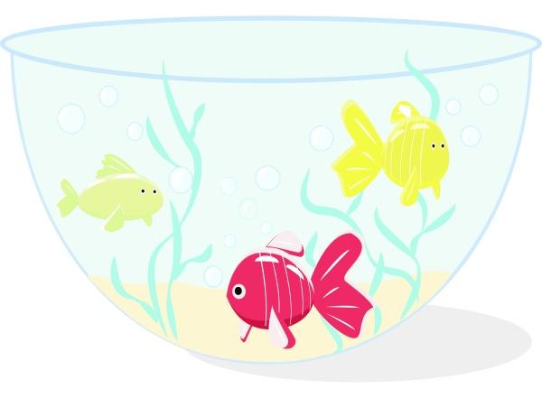 fish in aquarium illustration