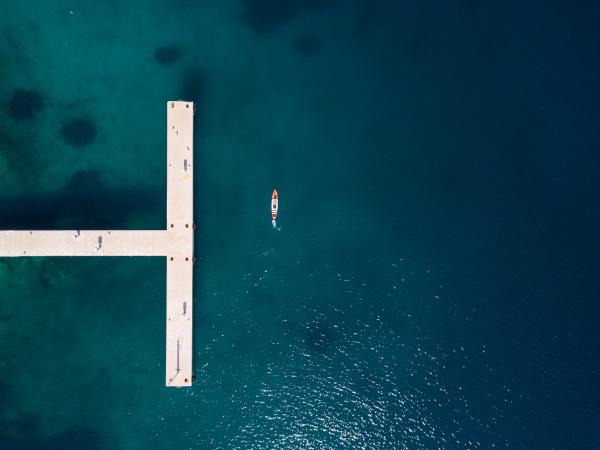 aerial view of man kayaking near