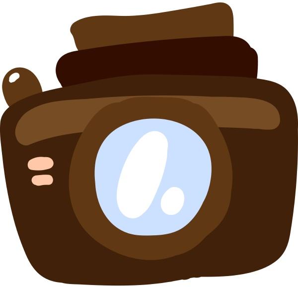 brown camera illustration vector on white