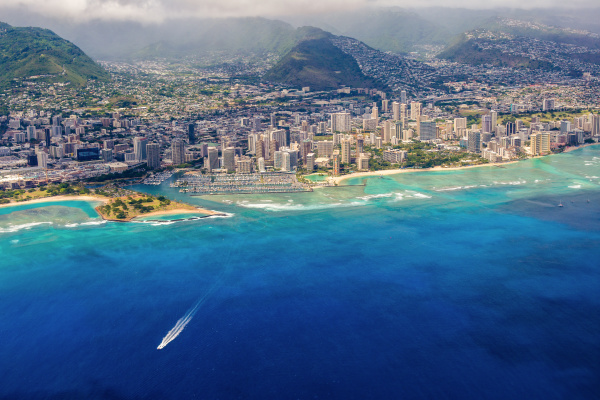 aerial view of the waikiki area