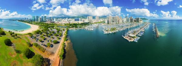 panoramic aerial view of alawai boat