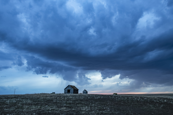 dramatic storm clouds on the prairies