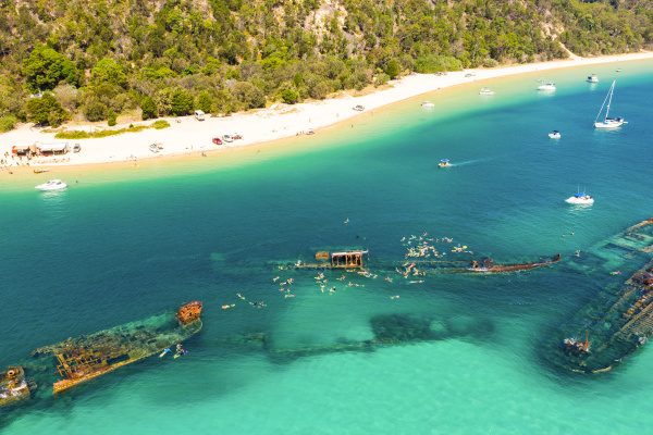 aerial view of the wrecks