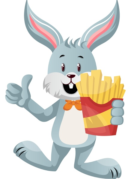bunny with french fries illustration