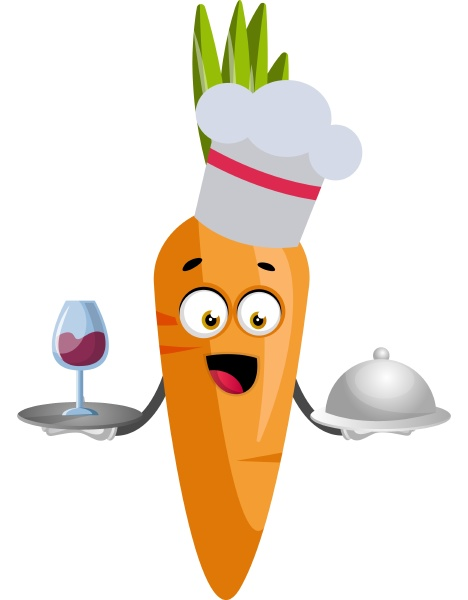 carrot cooking illustration vector on white