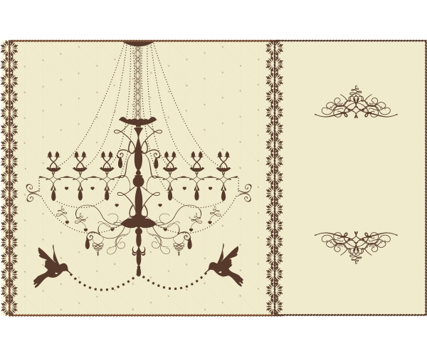 vintage wedding card with chandelier and