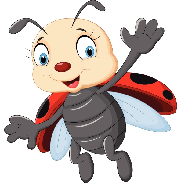 cartoon ladybug flying isolated on white