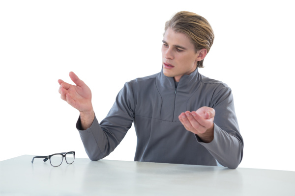 businessman analysing invisible product