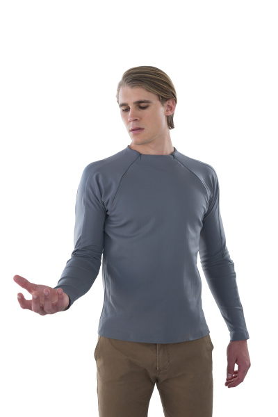 young businessman holding invisible product