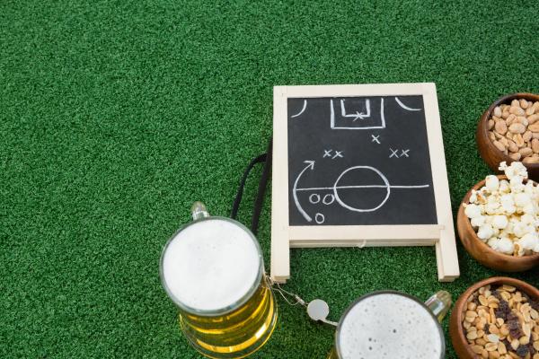 strategy board football and snacks