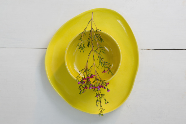 bowl and plates with flower on