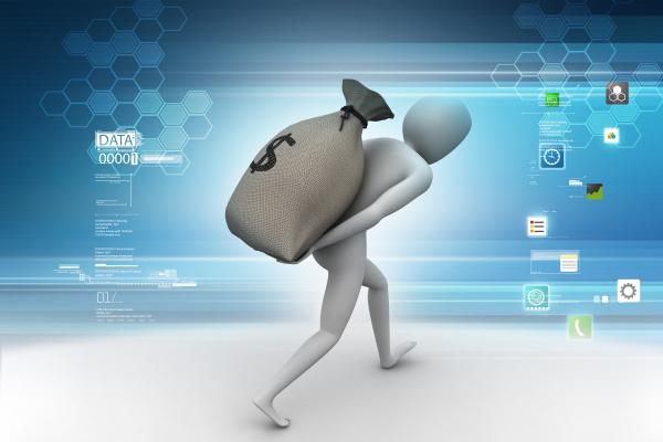 man carrying the dollar bag