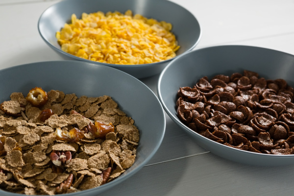 bowls of various breakfast