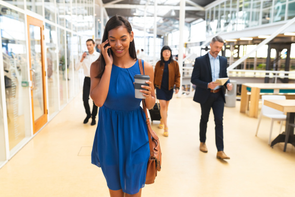 businesswoman talking on mobile phone while