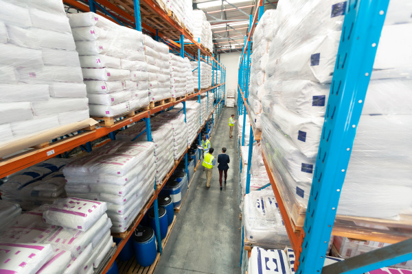 warehouse staff working together in warehouse