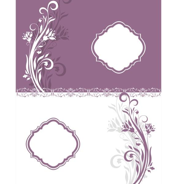 purple and white floral invitation card