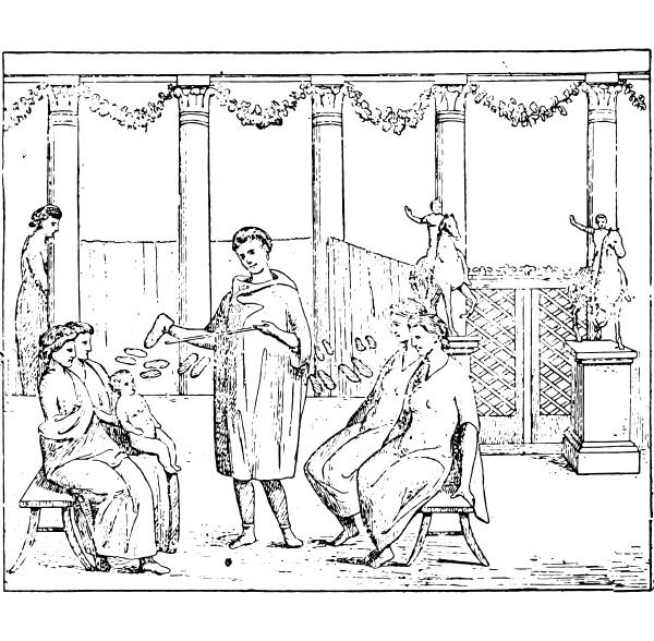 roman merchants vintage engraving