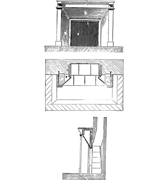 elevation plan and section vintage engraving
