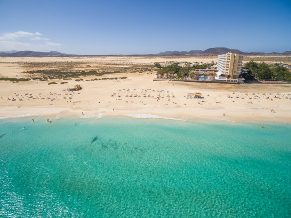 aerial view of corralejos big beaches