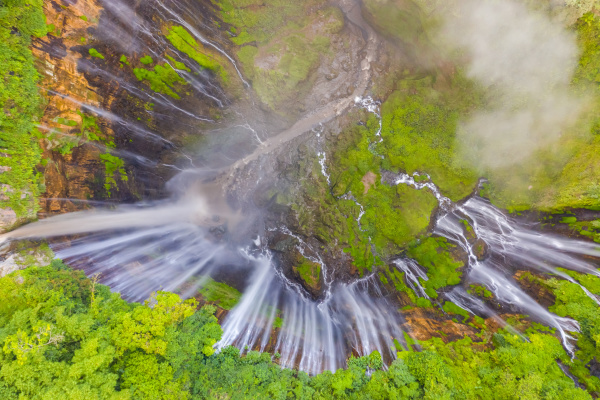aerial view of tumpak sewu waterfall