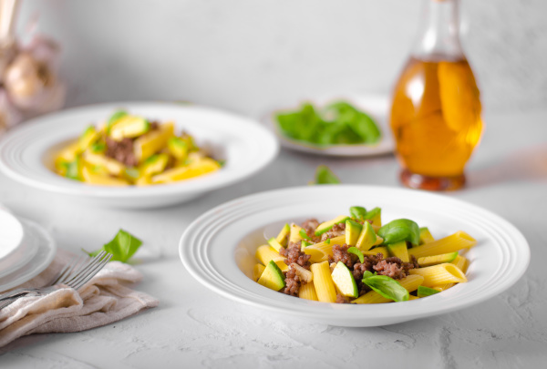 delicous pasta with beef and fresh