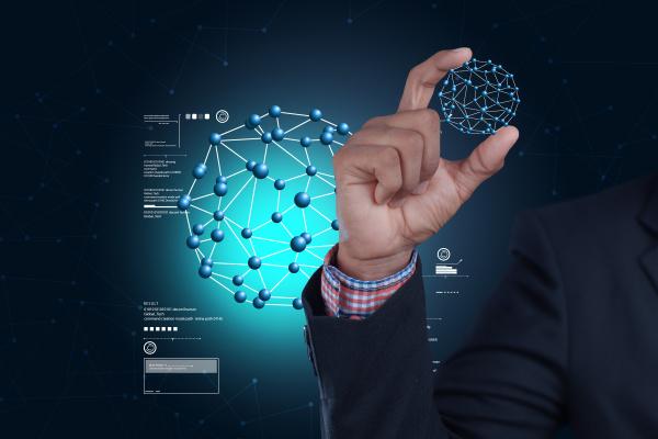 man hand showing molecules