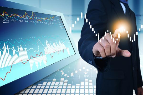 business man touching the stock chart