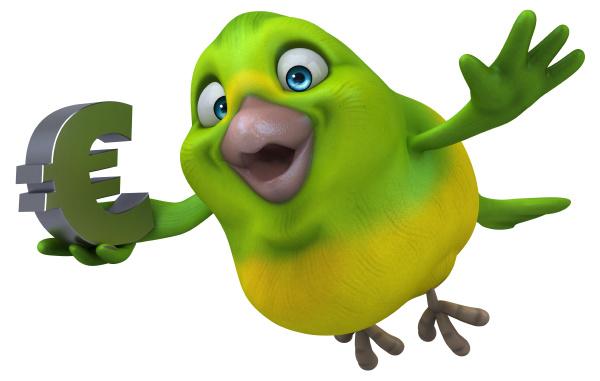 fun green bird 3d illustration