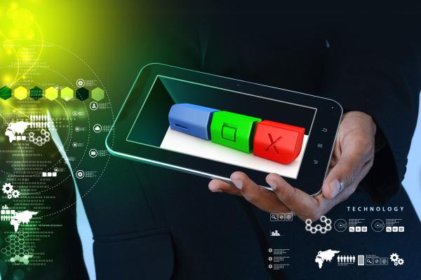 smart hand showing modern web buttons