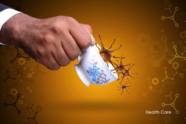 smart hand showing virus in tea