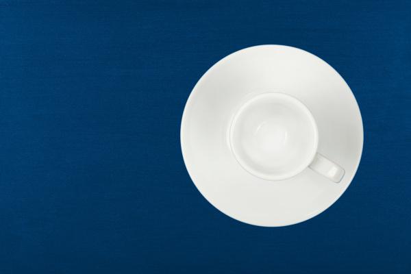 empty white espresso coffee cup over