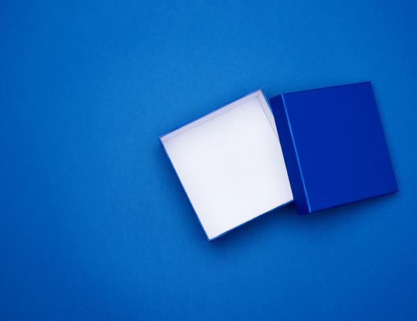 open blue square cardboard empty box