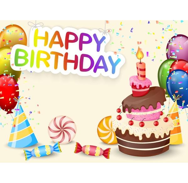 birthday background with birthday cake and
