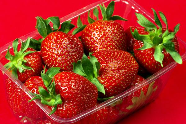 strawberries in plastic package