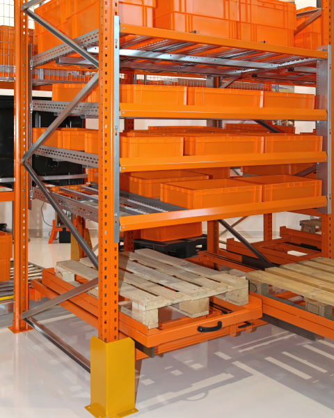 orange warehouse shelf