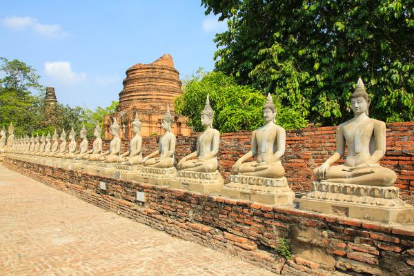 ancient buddha statue at wat yai