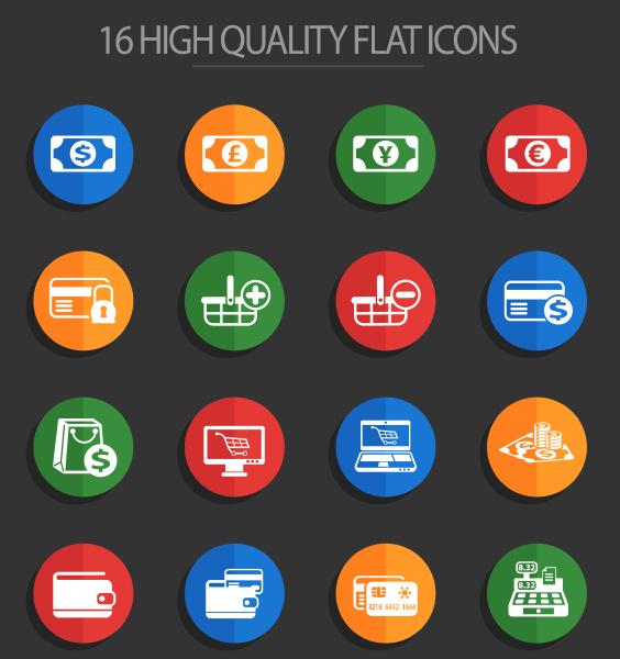 e commerce 16 flat icons