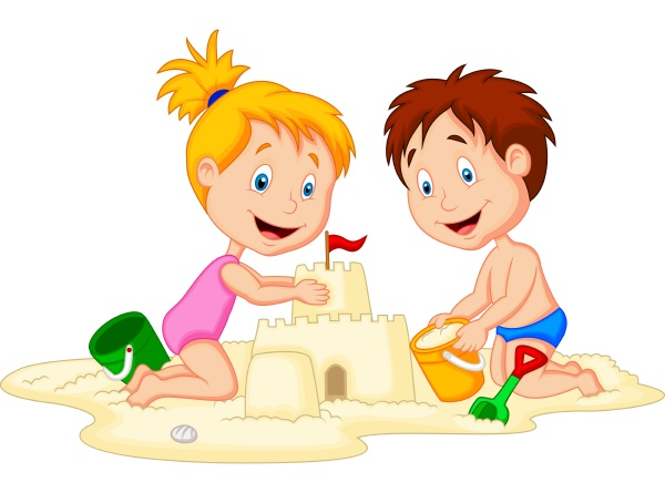 children making sand castle at tropical